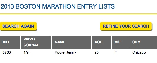 Boston Marathon 2013 Bib Number
